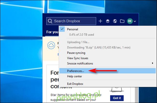 Kliknij Preferencje w Dropbox dla Windows