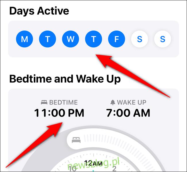 Stuknij dni tygodnia, w których chcesz używać tego harmonogramu, a następnie ustaw