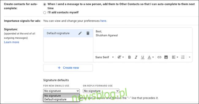 Wpisz swój podpis e-mail w Gmailu.