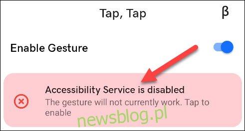 dotknij banera usługi ułatwień dostępu