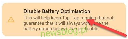 wyłącz baner optymalizacji baterii