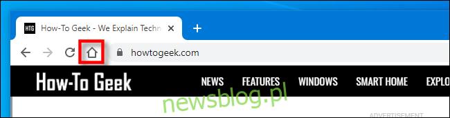 Ikona paska narzędzi strony głównej w Google Chrome.