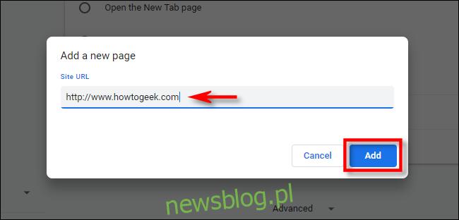W ustawieniach Chrome wprowadź adres URL strony głównej, której chcesz użyć.