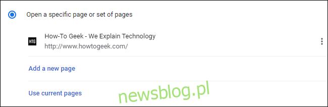 Analiza strony startowej dodanej do ustawień przeglądarki Google Chrome