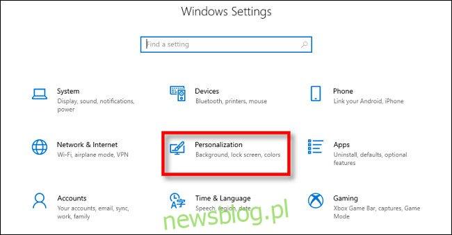 W ustawieniach systemu Windows 10 kliknij
