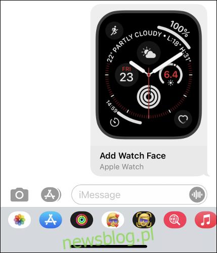 Udostępnianie tarczy zegarka Apple Watch w aplikacji Wiadomości iPhone'a