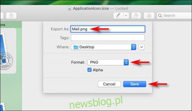 W oknie dialogowym Eksportuj w Podglądzie na Macu wprowadź nazwę, miejsce docelowe i typ pliku.
