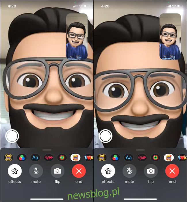 Korzystanie z FaceTime z widokiem pełnoekranowym Memoji