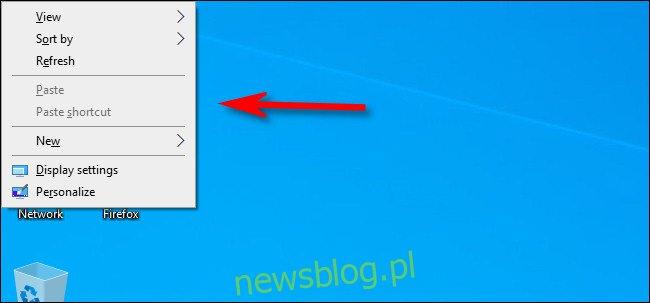 Menu kontekstowe na pulpicie systemu Windows 10.