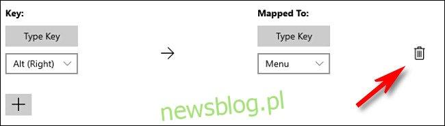 Kliknij ikonę kosza, aby usunąć mapowanie klawiszy w PowerToys.