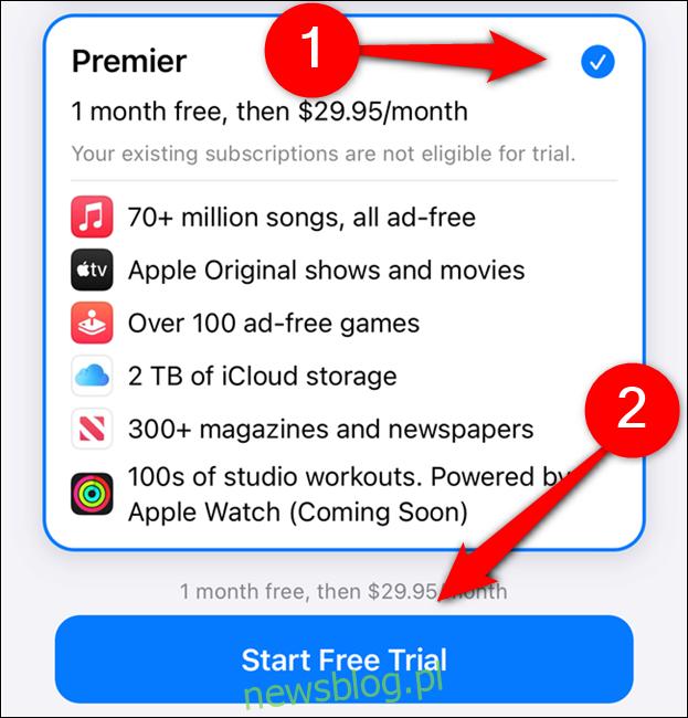 Wybierz plan Apple One, a następnie wybierz