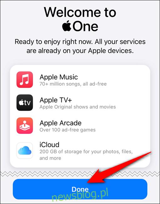 Twoja subskrypcja Apple One została potwierdzona. Stuknij w