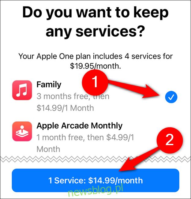 Wybierz usługi, które chcesz zachować