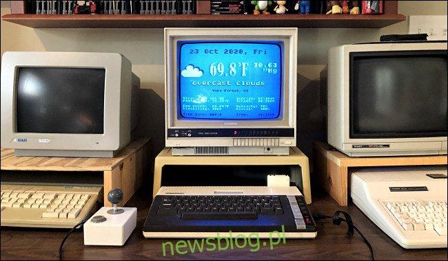 Prognoza pogody na monitorze komputera Atari 800XL.
