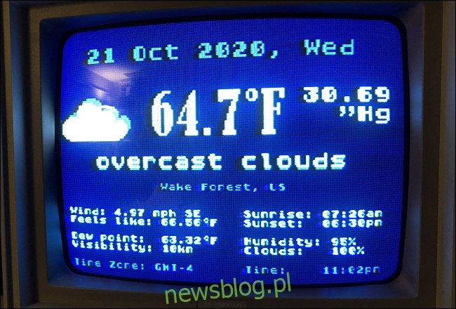 Ekran statusu Weather.xex na Atari 800XL.