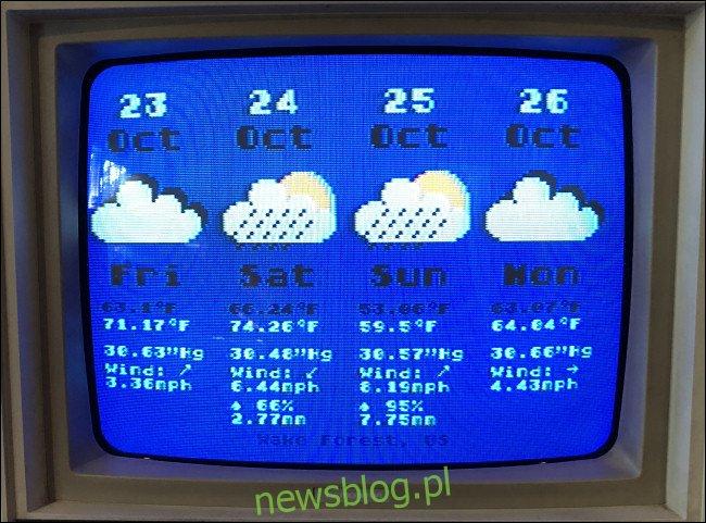 Czterodniowa prognoza pogody na Atari 800.