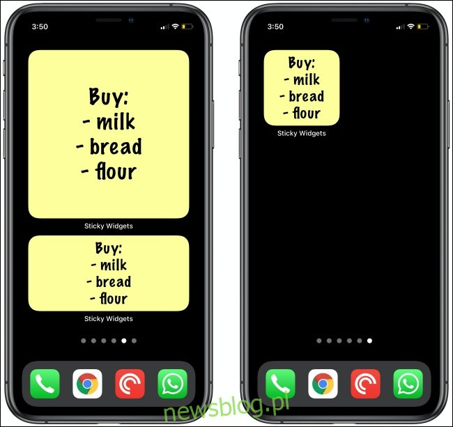 Listy zakupów w Sticky Widgets na iPhone'a.