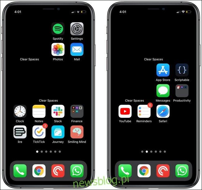 Wyczyść spacje na dwóch ekranach głównych iPhone'a.