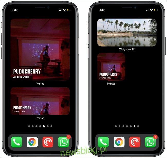 Zdjęcia Widżety na dwóch iPhone'ach.