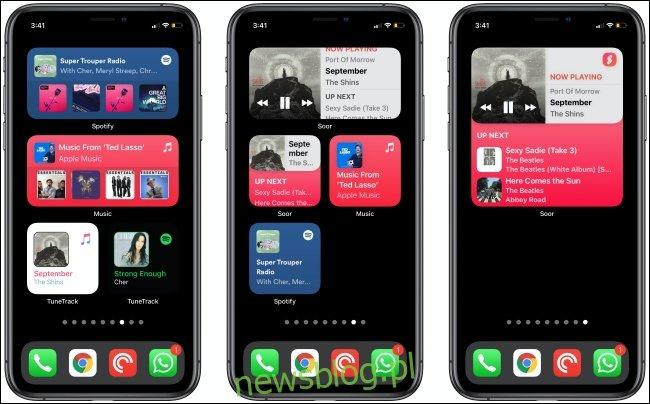 Widżety muzyczne na trzech iPhone'ach.