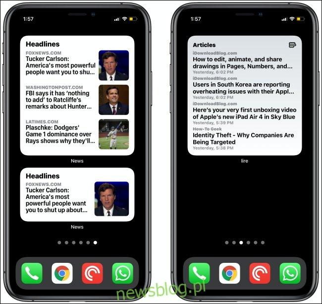 Widżety wiadomości na dwóch iPhone'ach.