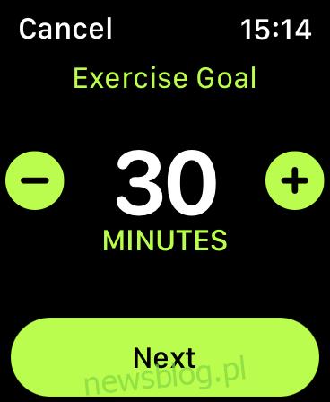 Cel dotyczący zmiany aktywności zegarka Apple Watch