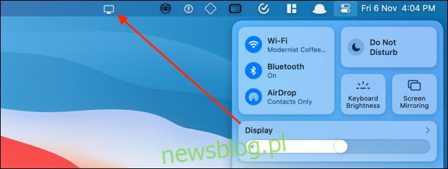 Przeciągnij panel wyświetlacza na pasek menu