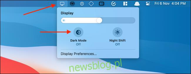 Włącz tryb ciemny za pomocą ikony wyświetlania na pasku menu