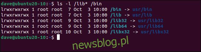 ls -l / lib * / bin w oknie terminala.