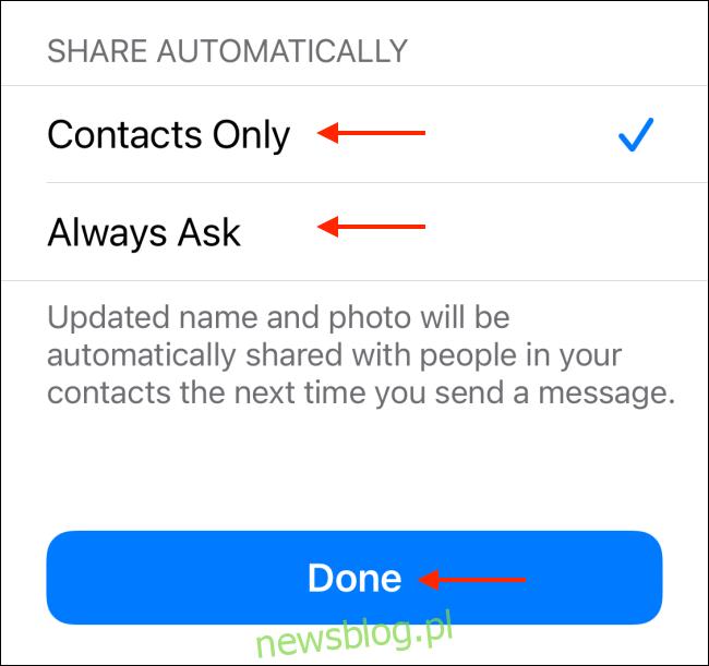 Wybierz Ustawienia udostępniania dla profilu iMessage