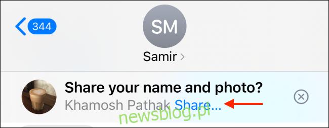 Stuknij Udostępnij, aby udostępnić zdjęcie i nazwę w iMessage