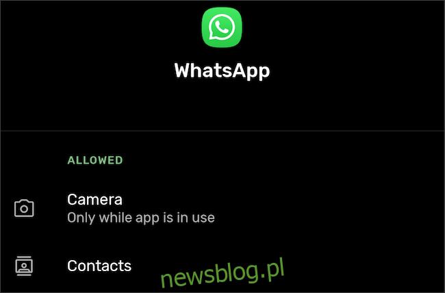 Przejdź do uprawnień aplikacji w ustawieniach Androida