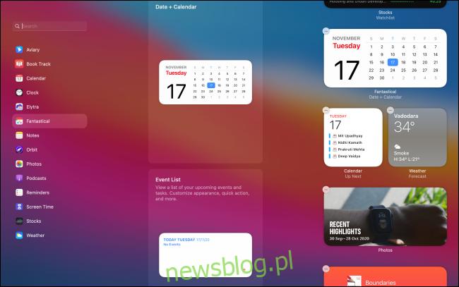 Interfejs użytkownika do edycji widżetów na komputerze Mac
