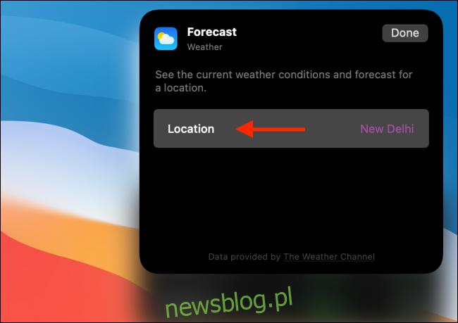 Kliknij opcję Lokalizacja w widżecie pogody