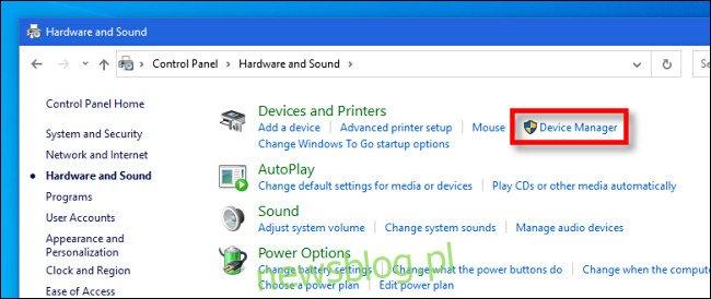 W Panelu sterowania systemu Windows 10 kliknij