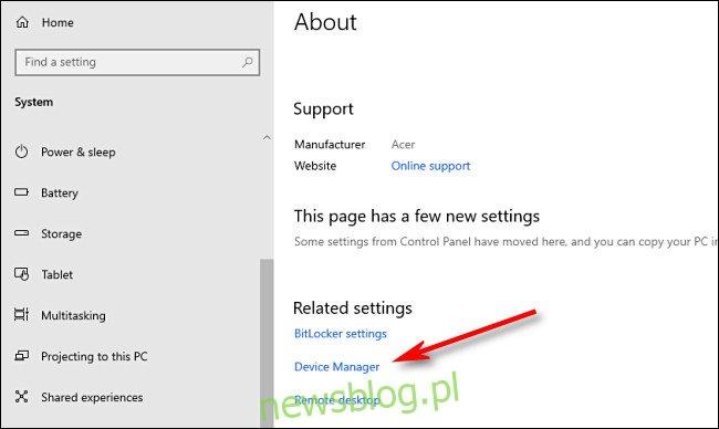 W menu Informacje o systemie przewiń w dół i kliknij