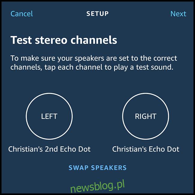 Następnie ustawisz, który głośnik będzie używany dla lewego i prawego kanału. Automatycznie ustawi pierwszy wybrany głośnik jako lewy głośnik. Jeśli chcesz zmienić kanały, po prostu wybierz