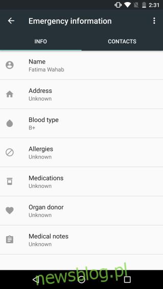 Informacje awaryjne w systemie Android 1