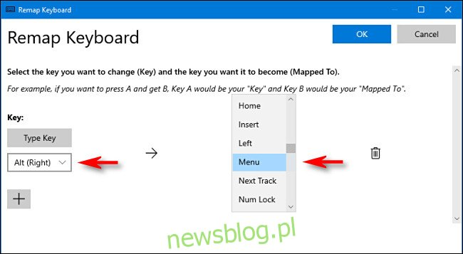 Kliknij strzałkę listy rozwijanej i wybierz klucz, a następnie wybierz