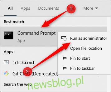Aplikacja Command Prompt w wyszukiwarce Windows