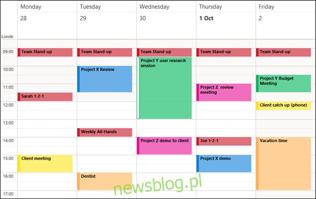 Wydarzenia programu Outlook z kolorami