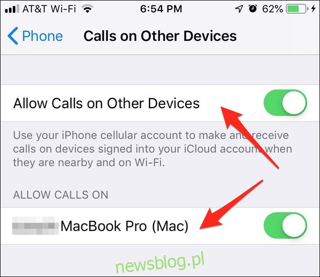 iPhone dzwoni na innych urządzeniach