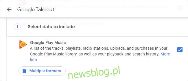 Pobieranie danych Muzyki Google Play z Google Takeout