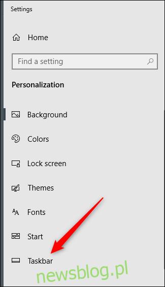 Opcja paska zadań w lewym panelu menu ustawień