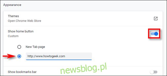 Ustawianie strony głównej w Google Chrome.