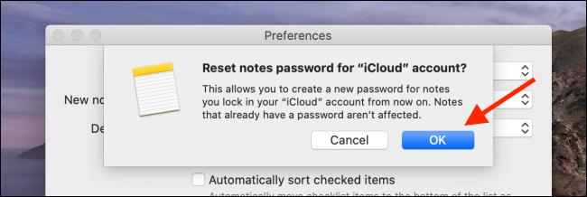 Kliknij OK w opcji Resetuj hasło na Macu