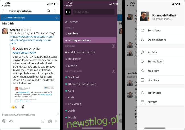 Nieprzeczytane wiadomości, kanały i profil w aplikacji Slack na telefonie.