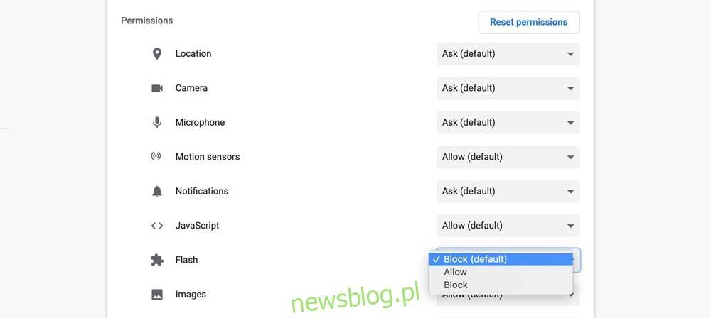 Zezwalaj na zawartość Flash dla witryny w Google Chrome
