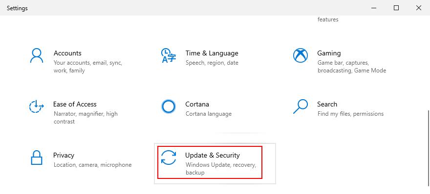 Windows 10 pokazuje, jak uzyskać dostęp do ustawień aktualizacji i zabezpieczeń