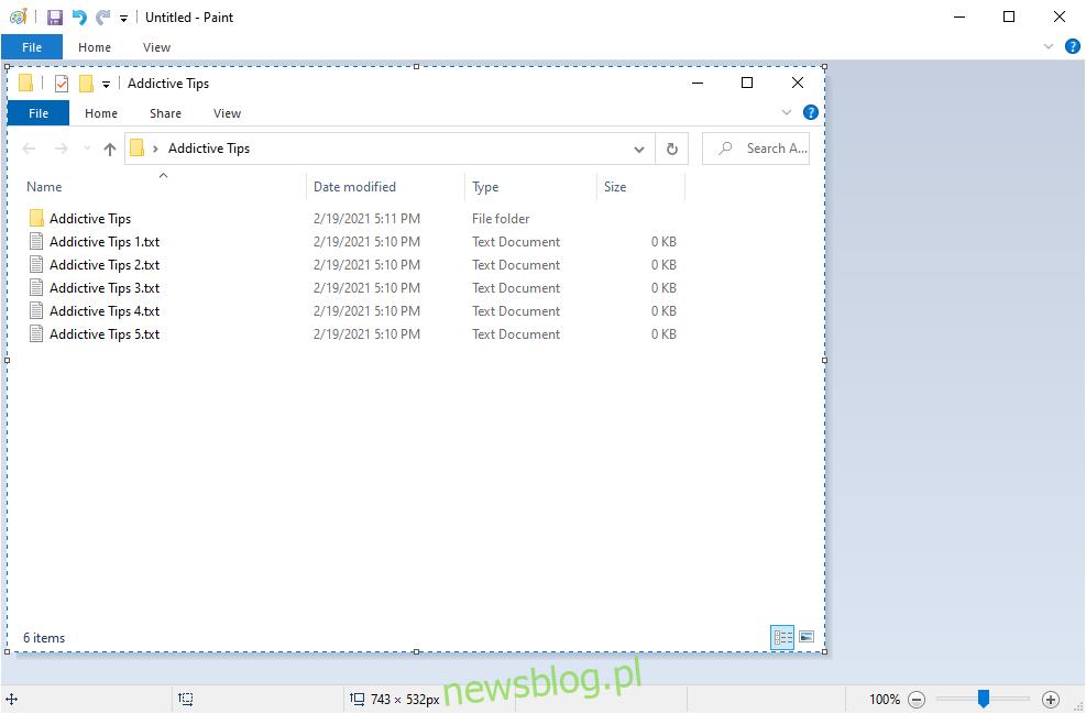 Windows 10 pokazuje Paint z zrzutem ekranu aktywnego okna